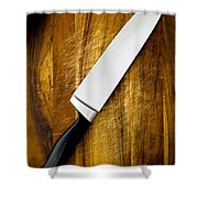 Knife On Chopping Board Shower Curtain