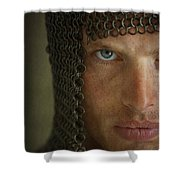 Knight In Chainmail Portrait Shower Curtain