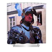 Knight In Full Armor During Parade Shower Curtain