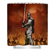 Knight In Shining Armour On A Medieval Battlefield Shower Curtain