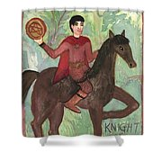 Knight Of Pentacles Shower Curtain
