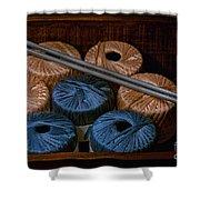 Knitting Yarn In A Wooden Box Shower Curtain