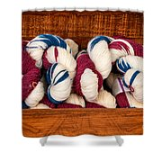 Knitting Yarn In Patriotic Colors Shower Curtain
