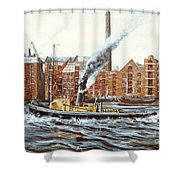 Knocker White Sailing Down River Past Rotherhithe Shower Curtain