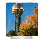Knoxville Sunsphere In Autumn Shower Curtain