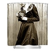 Kodak Girl With A Folding Camera Circa 1918 Shower Curtain