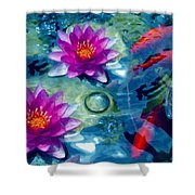 Koi And The Water Lilies Shower Curtain