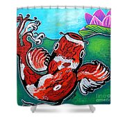 Koi Fish And Water Lily Shower Curtain