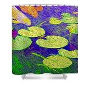 Koi Fish Under The Lilly Pads  Shower Curtain by Jon Neidert