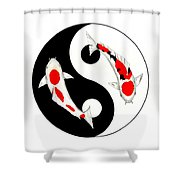 Koi Kohaku And Taisho Sanke Yin Yang Painting Shower Curtain
