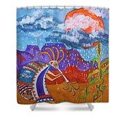 Kokopelli Bringing The Rains Shower Curtain