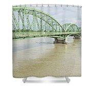 Komarom Bridge Over Flooding Danube River Shower Curtain