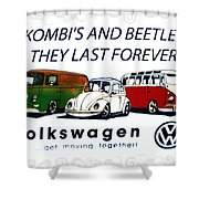 Kombis And Beetles Last Forever Shower Curtain