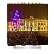 Koprivnica Night Street Christmas Scene Shower Curtain