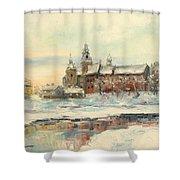 Krakow - Wawel Castle Winter Shower Curtain