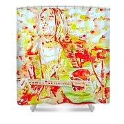 Kurt Cobain Live Concert - Watercolor Portrait Shower Curtain