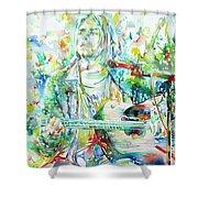 Kurt Cobain Playing The Guitar - Watercolor Portrait Shower Curtain
