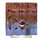 Kyaking On A Lake In Spring Shower Curtain
