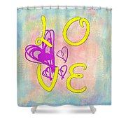 L O V E Disney Style Shower Curtain