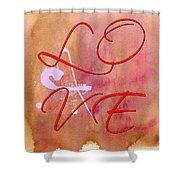L O V E Script With Heart Shower Curtain