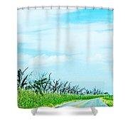La 57 Marsh Drive Shower Curtain