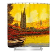 La Barca Al Tramonto Shower Curtain by Guido Borelli
