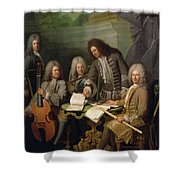 La Barre And Other Musicians, C.1710 Oil On Canvas Shower Curtain