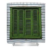 La Boca Shutter Green Shower Curtain