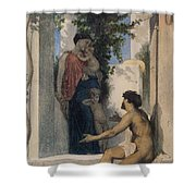 La Charite Romaine Shower Curtain by William Bouguereau