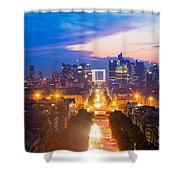 La Defense And Champs Elysees At Sunset In Paris France Shower Curtain
