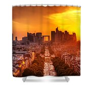 La Defense And Champs Elysees At Sunset Shower Curtain by Michal Bednarek