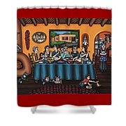 La Familia Or The Family Shower Curtain by Victoria De Almeida