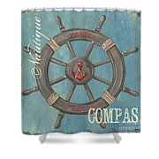 La Mer Compas Shower Curtain by Debbie DeWitt