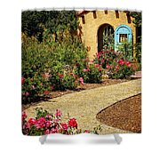 La Posada Gardens In Winslow Arizona Shower Curtain by Priscilla Burgers