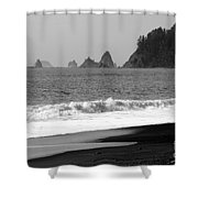 La Push Beach Black And White Shower Curtain