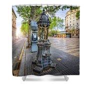 La Rambla Fountain  Shower Curtain