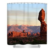 La Sal Mountains From Balanced Rock Shower Curtain