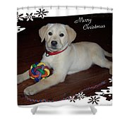 Lab Pup Merry Christmas Shower Curtain
