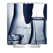 Laboratory Erlenmeyer Flasks In Science Research Lab Shower Curtain