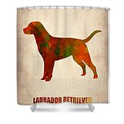 Labrador Retriever Poster Shower Curtain by Naxart Studio