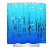 Lacassine Pool Reeds Shower Curtain