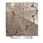 Lace Parasol In Sepia Shower Curtain