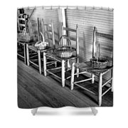 Ladder Back Chairs And Baskets Shower Curtain by Lynn Palmer