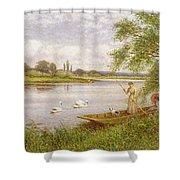 Ladies In A Punt Shower Curtain by Arthur Augustus II Glendening