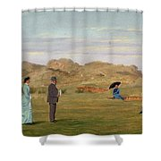 Ladies Match At Westward Ho Shower Curtain by Francis Powell Hopkins