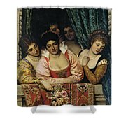 Ladies On A Balcony Shower Curtain
