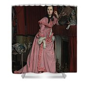 Lady At The Fireplace   Shower Curtain