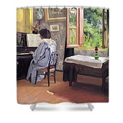 Lady At The Piano Shower Curtain by Felix Edouard Vallotton