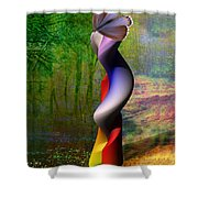 Lady At The Pond With Butterfly Shower Curtain