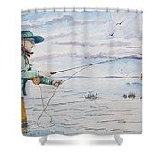 Lady Fly Fishing Shower Curtain